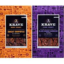 All Natural Jerky Favorites Combo - Sweet Chipotle Beef Jerky & Black Cherry Barbecue Pork Jerky - 6.6 Ounces Each Bag (Pack of 2)