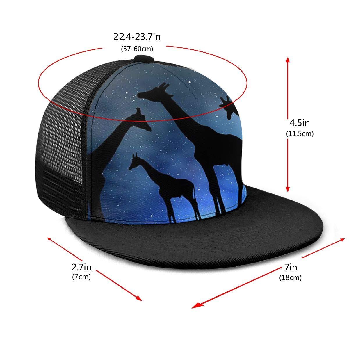 Unisex 100/% Polyester Giraffe in The Night Baseball Cap Cool Mesh Back Trucker Hat for Unisex
