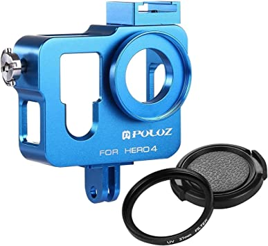 Color : Blue JINGZ Housing Shell CNC Aluminum Alloy Protective Cage with 37mm UV Lens Filter /& Lens Cap for GoPro HERO4 Durable