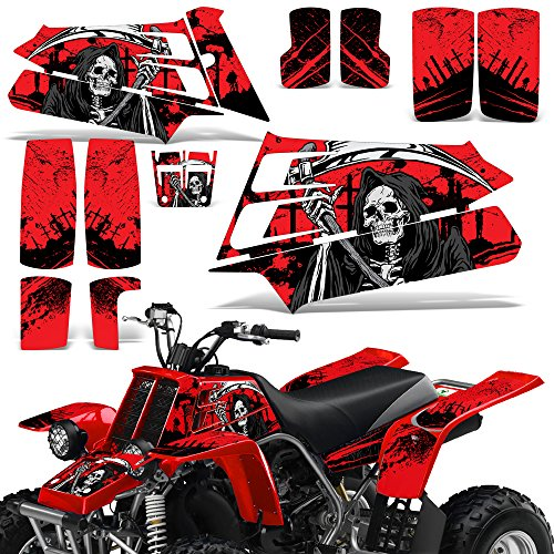 987-2005 Decal Graphic Kit ATV Quad Decal Wrap Parts Deco REAPER RED (Yamaha Atv Graphics Kit)