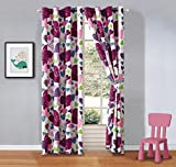 Girls Kids -Misty Zebra Tween Teen Grommet Curtains with Ties. 2 Panels, W60 x L84-Inch Matches Our Misty Zebra Bedding-Love, Hearts-Hot Pink, Turquoise Blue, Purple, Black and White