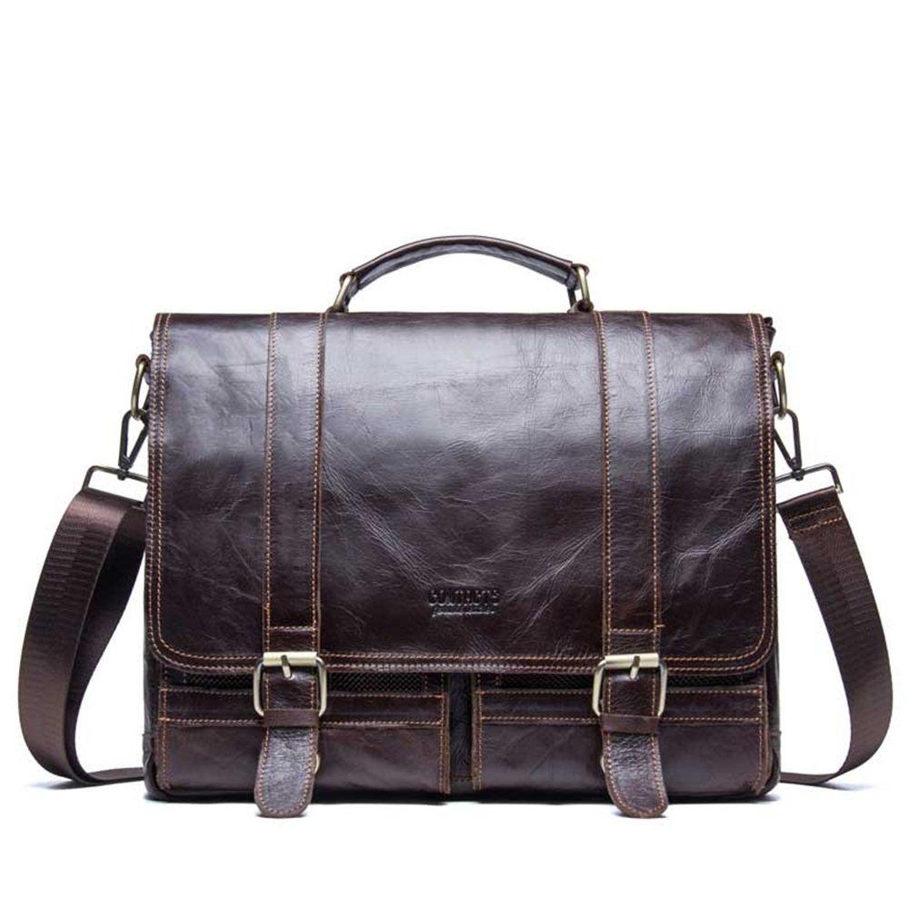 DNSJB Men's Briefcase Messenger Bag Vintage Leather Crossbody Shoulder Satchel Bags 14 Inch Laptop Handbag Brown
