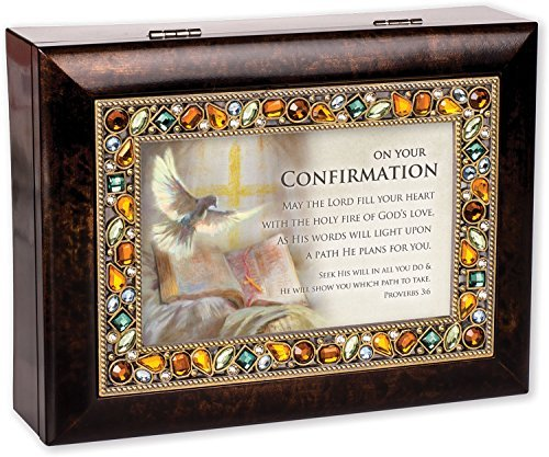 Musical Rosary Box (On Your Confirmation Day Burlwood Finish Jeweled Lid Jewelry Music Box Plays Tune How Great Thou Art)
