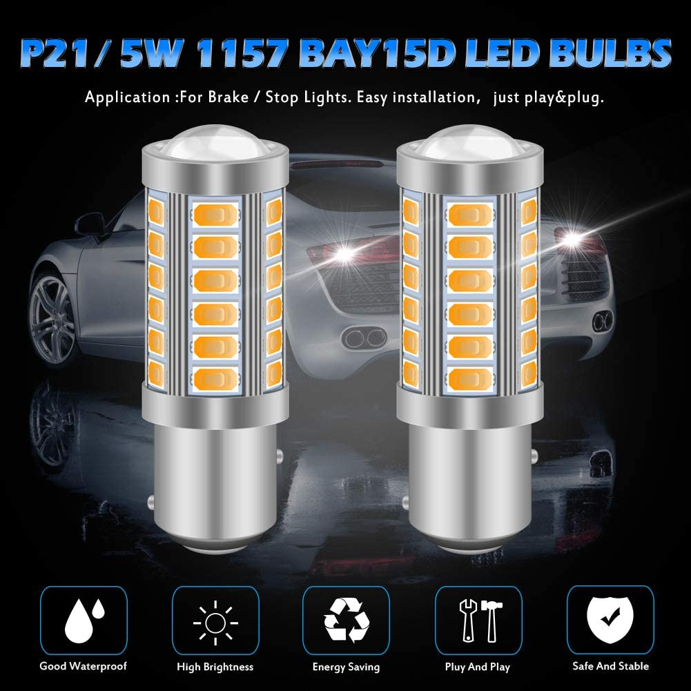 KATUR 2pcs BAU15S 7507 1156PY PY21W 5630 33-SMD White 900 Lumens 8000K Super Bright LED Turn Tail Brake Stop Signal Light Lamp Bulb 12V 3.6W