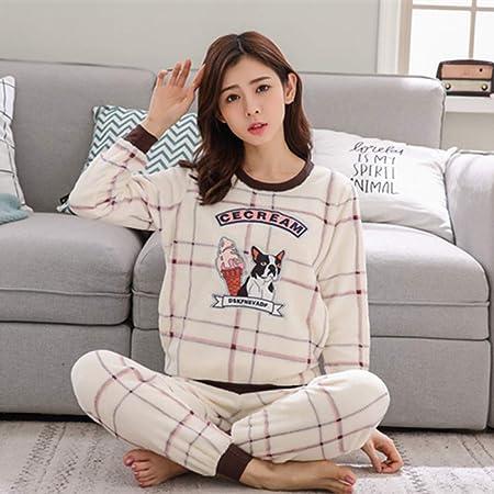 JYLW Pijamas Invierno Mujer Invierno Mujer Pijamas Espesar ...