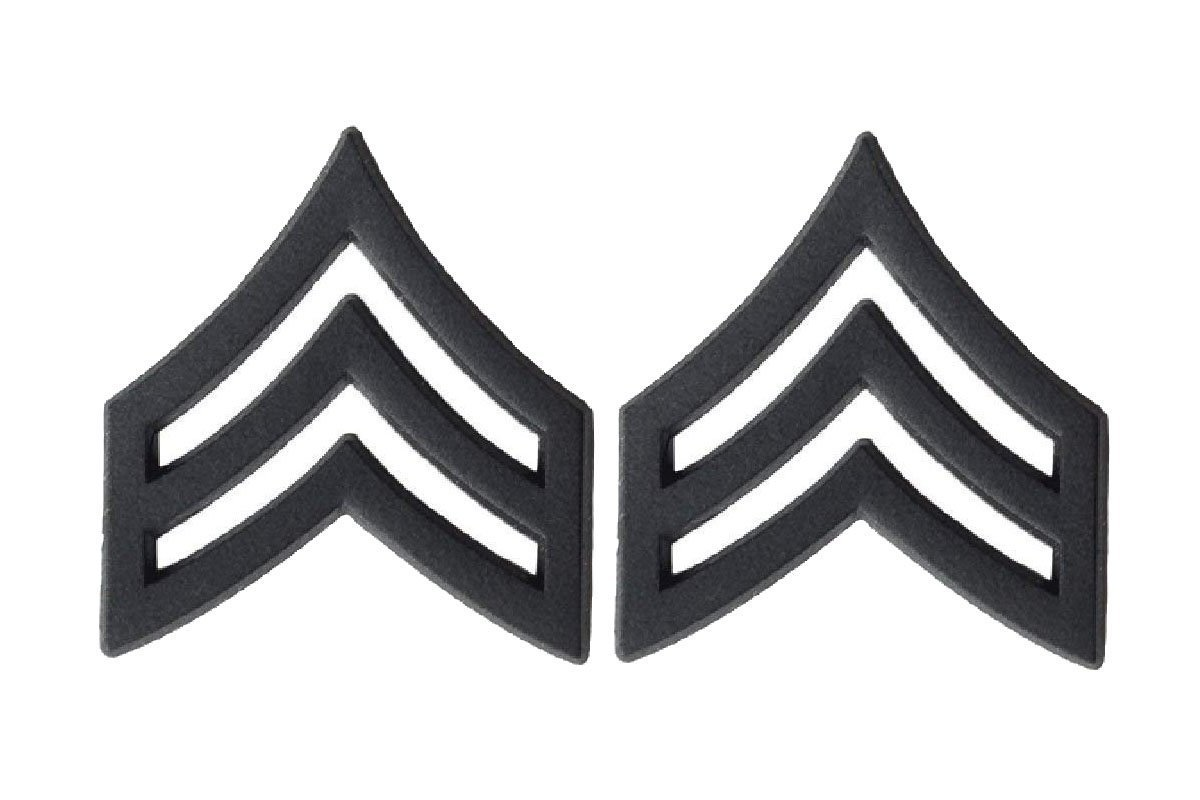U.S. Army Black Metal Enlisted Rank (E-5 SERGEANT)