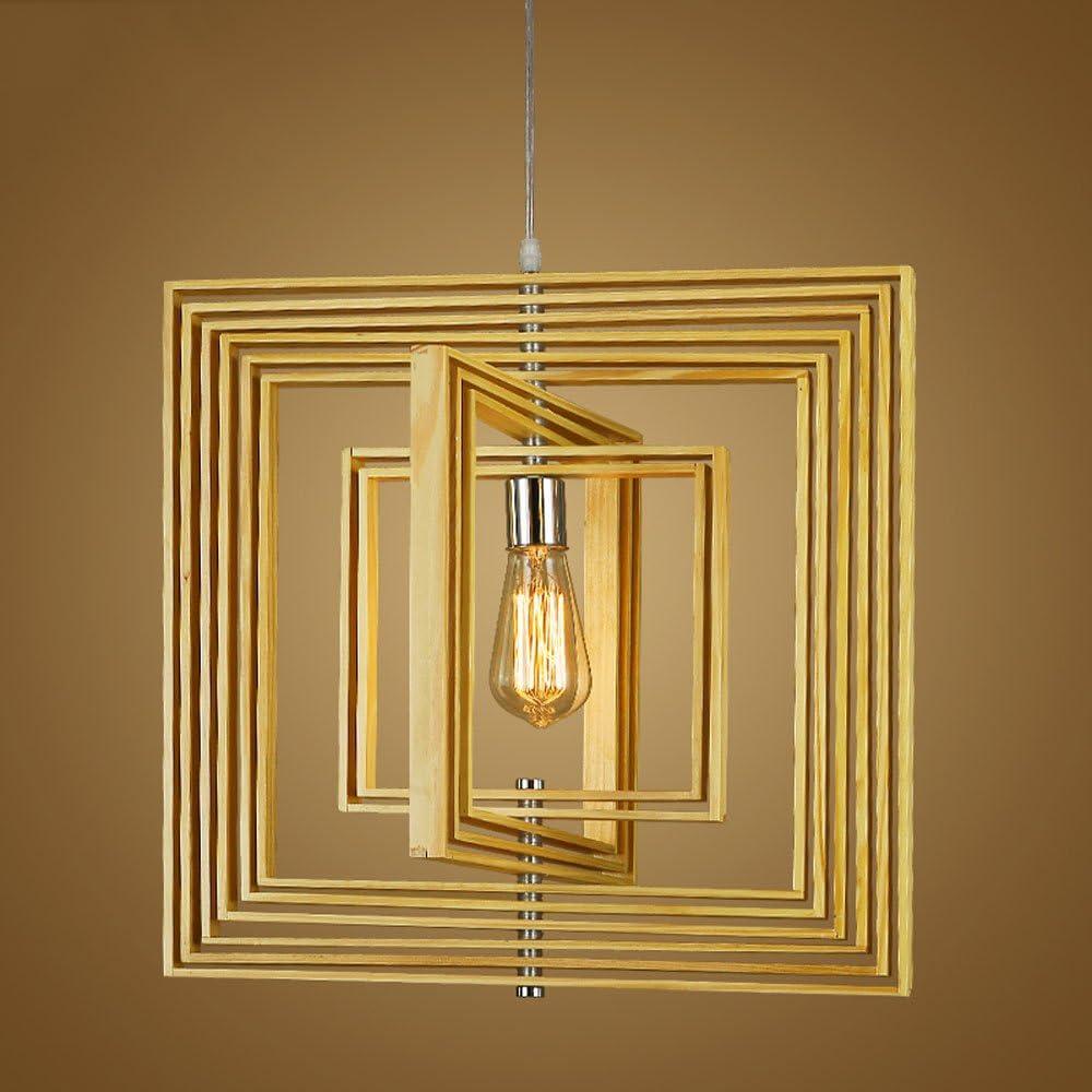Shubiao Nordic Minimalista Ajustable Cuadrado Hueco lámpara de Madera Maciza Ventilador Creativo lámpara Colgante American Retro luz de Techo (Diseño : A): Amazon.es: Hogar
