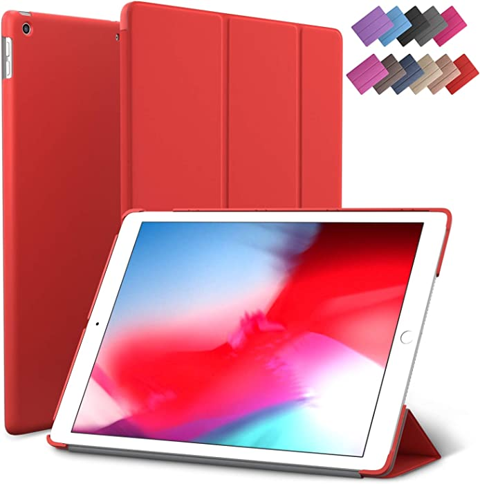 iPad Air 3 case, ROARTZ Red Slim Fit Smart Rubber Coated Folio Case Hard Cover Light-Weight Wake/Sleep for Apple iPad Air 3rd Generation 2019 Model A2152 A2123 A2153 10.5-Inch Display