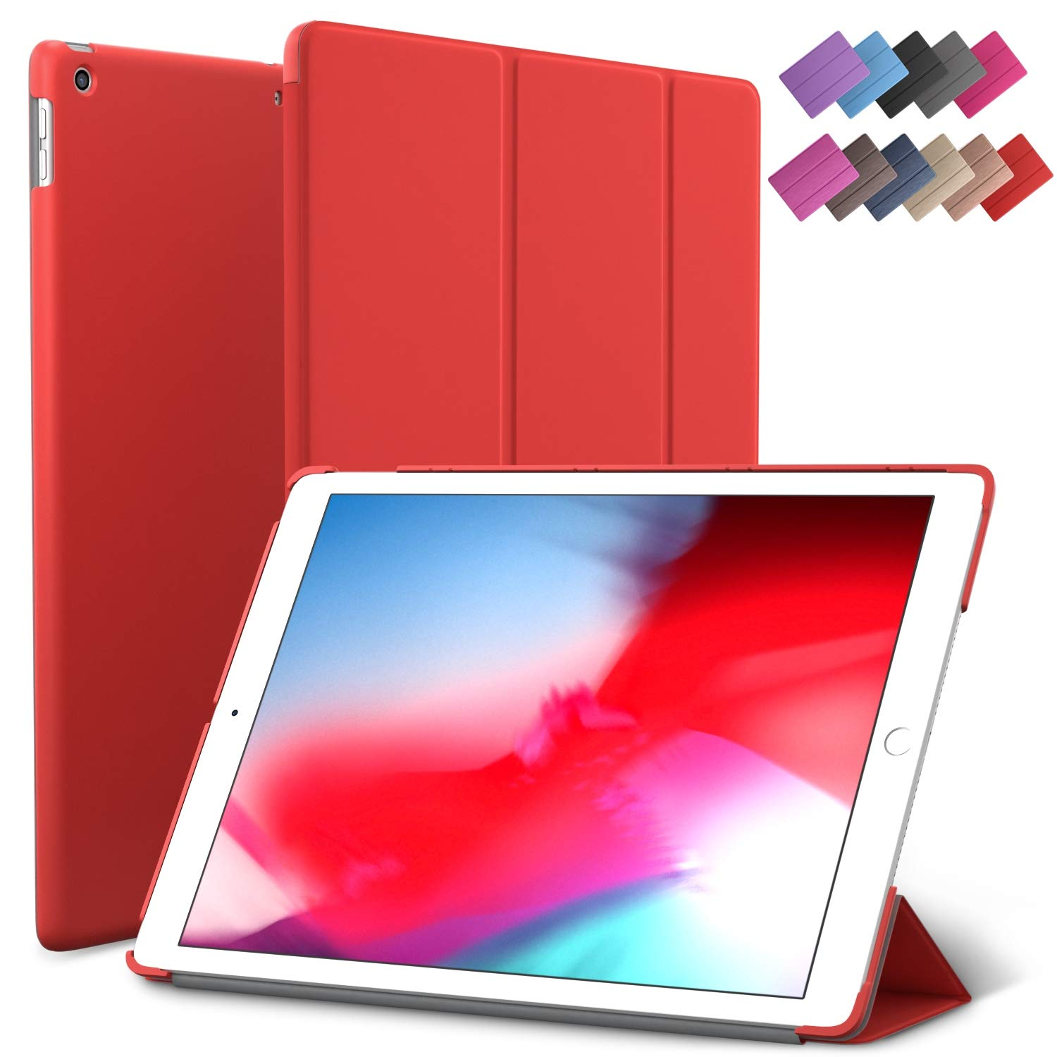 iPad Mini 5 case, ROARTZ Red Slim Fit Smart Rubber Coated Folio Case Hard Cover Light-Weight Wake/Sleep for Apple iPad Mini 5th Generation 2019 Model ...
