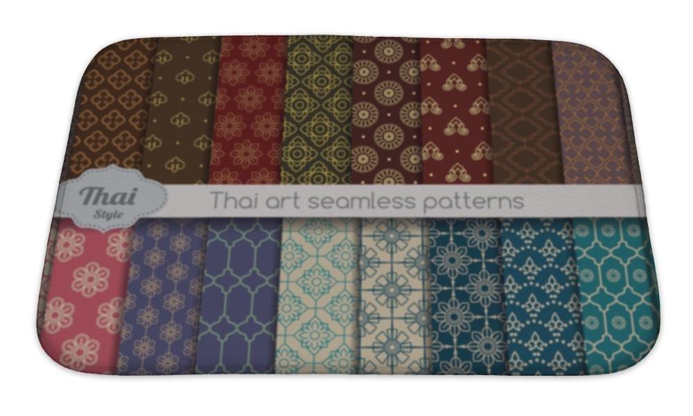 Gear New Bath Mat For Bathroom, Memory Foam Non Slip, Damask Pattern Thai Style Pattern, 24x17, 5281819GN by Gear New