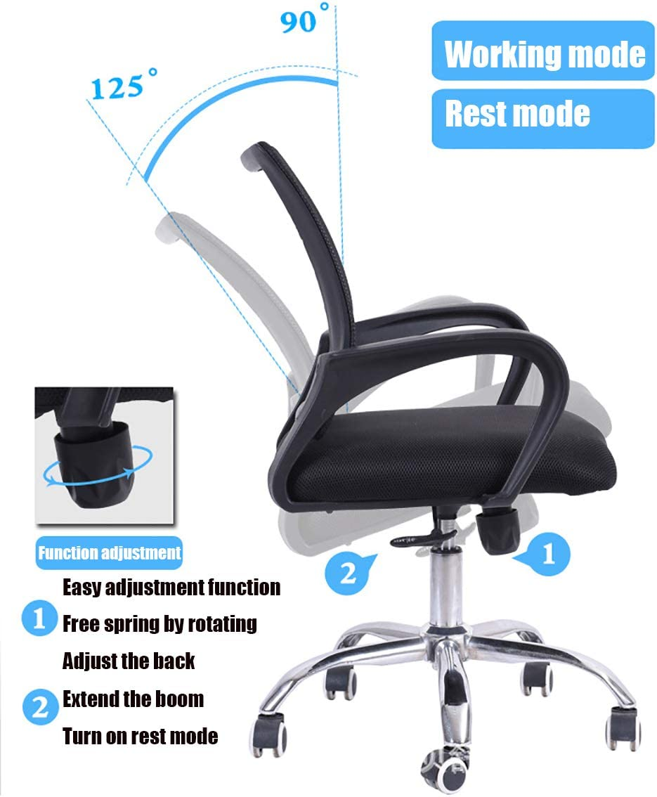 Wyujie Modern Ergonomic Home Mesh Office Chair Gaming Chairs for Adults Comfy Chair Swivel Chair Office Chair with Arms And Back Support Black,Blue Red