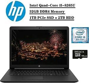 """2020 Premium HP 17 Laptop Computer, 17.3"""" HD+ BrightViewWLED Display, Intel Quad-Core i5-8265U (>i7-7500U), 32GB DDR4 1TB PCIe SSD 2TB HDD, DVD WiFi HDMI Win 10 + Delca 16GB Micro SD Card"""