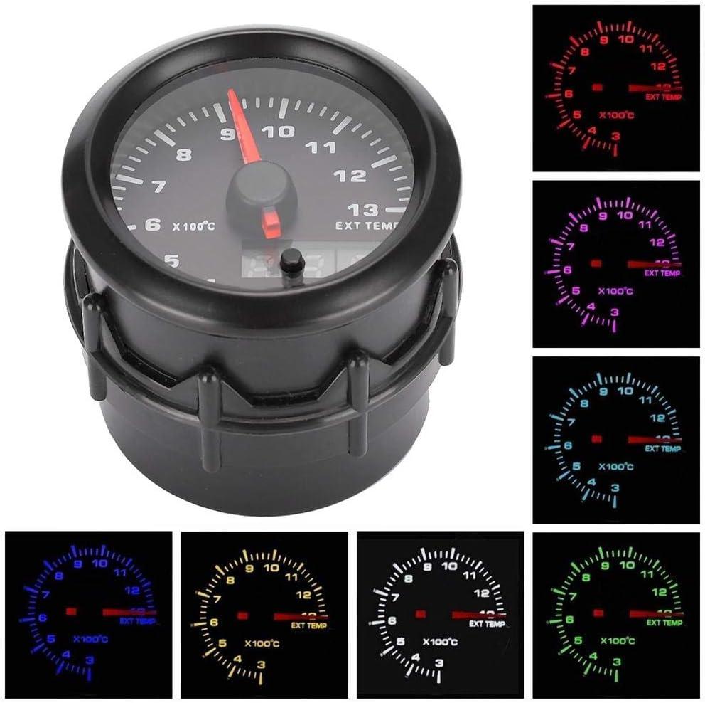 7-Farben Auto Auto Digital LED EGT Meter Gastemperaturanzeige mit Sensor Qiilu 2in 52mm Abgastemperaturanzeige