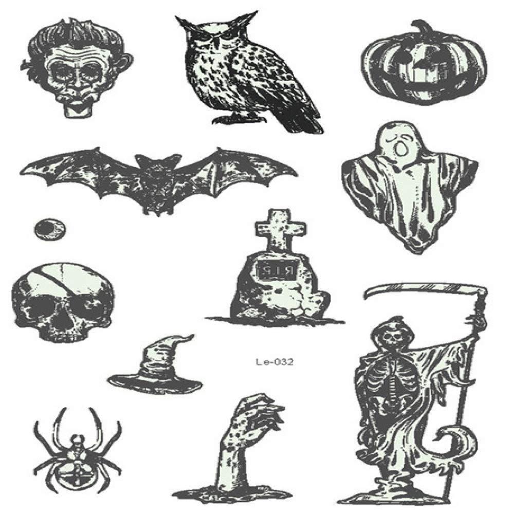 adgkitb 3 Piezas Halloween Tatuaje Temporal Luminoso lápida ...
