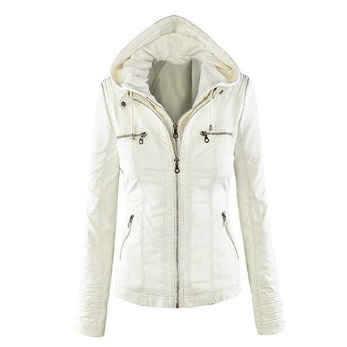 Mr. Angelo - Chaqueta con capucha para mujer, de piel blanco blanco X-Large