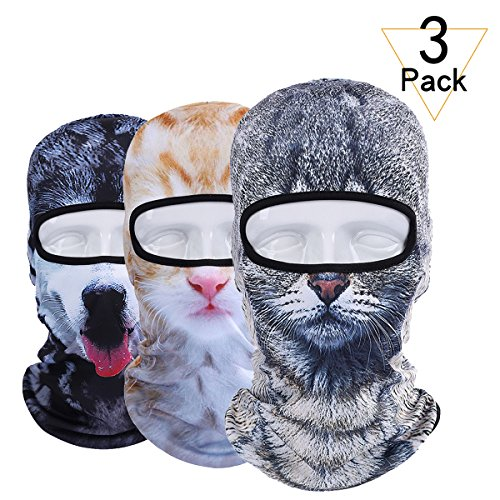 JIUSY 3 Pack - 3D Animal Balaclava Head Cove Hood Face Mask Sun UV Protection Helmet Liner for Hunting Fishing Skiing Snowboard Golf Airsoft Tactical Military Softball Men Women Dog Cat