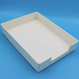 Founton Creative Plastic Seving Tray 13x10in, Stackable Rectangle File&Food Multifunctional Sorting Trays Box, White