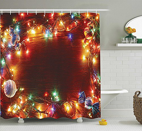 Christmas Decorations Collection Fairy Lights Image on Wooden Rustic Pine with Xmas (Double Lollies Tub)