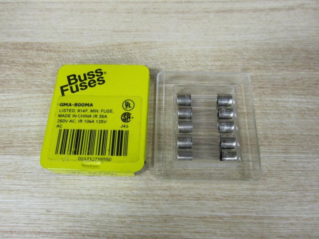Pack of 5 Bussmann GMA-800MA Miniature Glass Tube Fuse GMA800MA