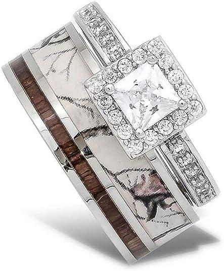 Amazon Com 2 Pc Natural White Camo Ring With Koa Wood Inlay And