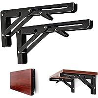 Folding Shelf Brackets 10 Inch Heavy Duty, 2 Pcs Shelf Brackets, l Brackets for Shelves, Floating Shelf Bracket, Metal…