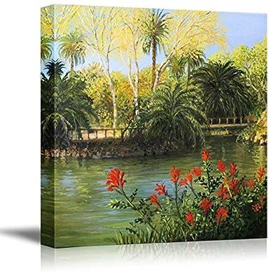 Beautiful Scenery of PARC De La Ciutadella in Barcelona in Oil Painting Style - Canvas Art Wall Art - 16