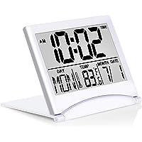 Betus Digital Travel Alarm Clock - Foldable Calendar & Temperature & Timer LCD Clock with Snooze Mode - Large Number…