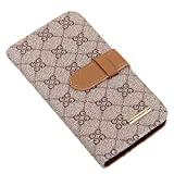 RAYTOP® Brown PU Leather Wallet Case with Kickstand for Samsung Galaxy S6 S 6 Flip Covers Folding Carrying Skins GG Patterned Card Pocekts Stand Function Men Women Decent Buiness Stylish Sophisticated