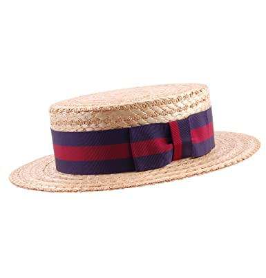 bc1d6fa1 Olney Men's Straw Boater Guards Ribbon Straw Natural - GB 7 5/8-62cm ...