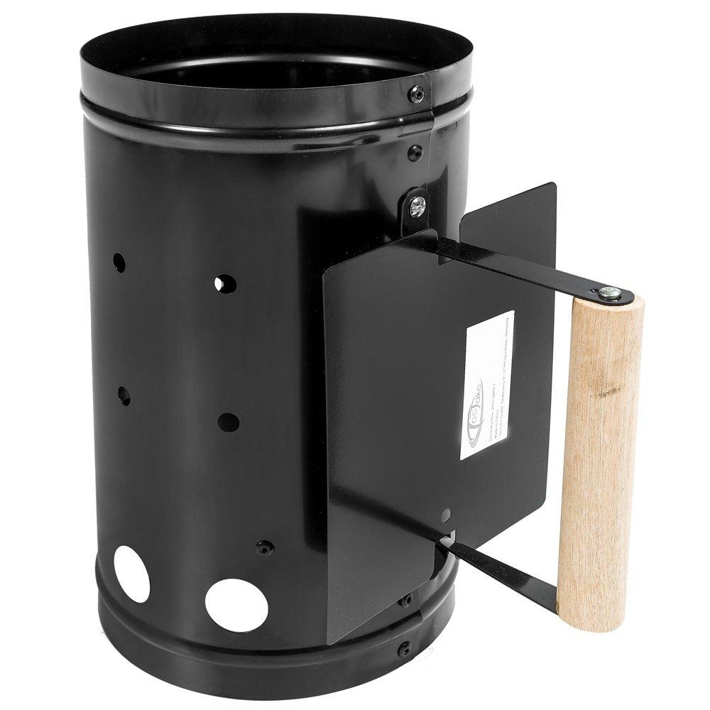 TecTake Contenitore per carbone barbecue BBQ camino per accendere carbonella nero