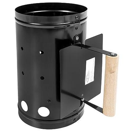TecTake Encendedor para barbacoa carbón chimenea cubo ascuas BBQ grill parrilla negro