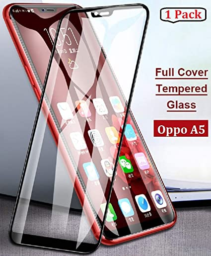 best service 55f40 0ab7c FIRST MART Screen Guard Tempered Glass for Oppo A5 Full Screen Coverage 6D  9H Hardness Anti-Fingerprint 0.33 mm HD+ View Crystal Clear 6D Preciesly ...
