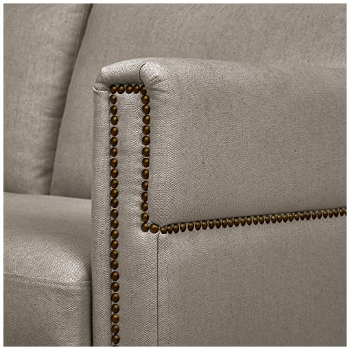 Farmhouse Living Room Furniture Amazon Brand – Stone & Beam Westport Modern Nailhead Upholstered Loveseat Sofa Couch, 61.5″W, Stone Brown farmhouse sofas and couches