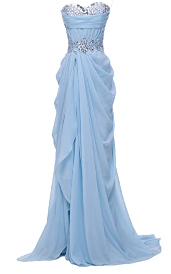 Fanciest Womens Crystal Split Mermaid Prom Dresses Long Evening Gowns Blue UK6