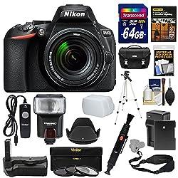 Nikon D5600 Wi-fi Digital Slr Camera & 18-140mm Vr Dx Af-s Lens + 64gb Card + Case + Flash + Battery & Charger + Grip + Tripod + Filters + Remote Kit