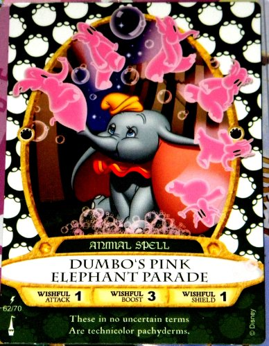 Disneys Animal Kingdom Map - Disney Sorcerers Mask of the Magic Kingdom Sotmk Game Wdw Walt Disney World Exclusive Game Lightening Card # 62 Dumbo's Pink Elephant Parade Rare Animal Spell Map & Mickey Stickers