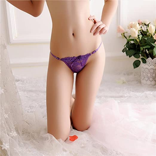 4dd6bc594 Amazon.com  Cywulin Women s Women Sexy Lace G-string Briefs Panties Thongs  Low Rise Lingerie Underwear (Purple)  Health   Personal Care