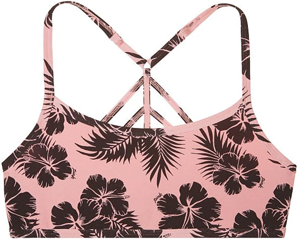 Victorias Secret Pink Cotton Lounge Strappy Bralette Angel in Pink Tropical Print