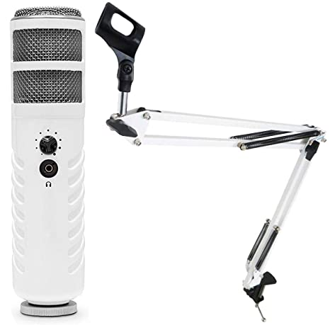 Rode Podcaster USB Micrófono Keepdrum 5-nb35 WH Blanco Mesa Brazo ...
