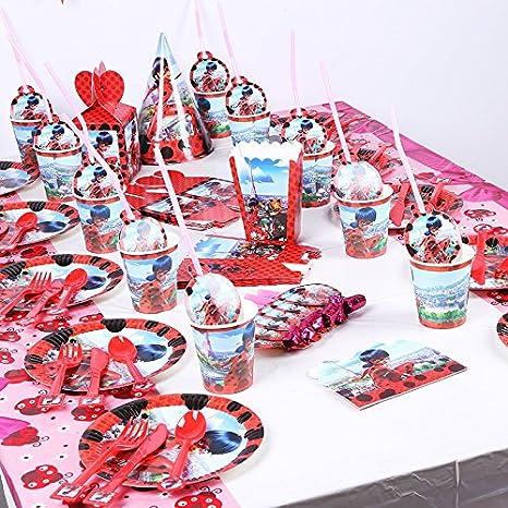 Amazon SAM 1993 12Set Luxury Miraculous Ladybug Theme Tableware Set Kids Birthday Party Supplies Toys Games