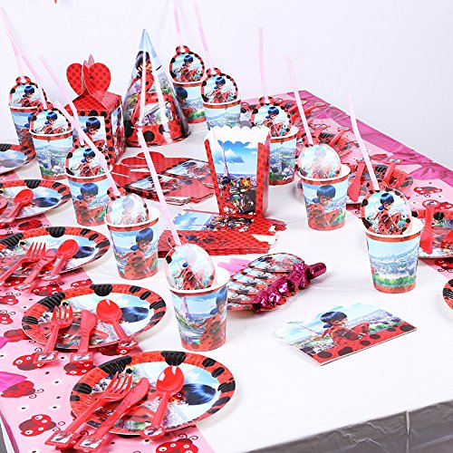 12Set Luxury Miraculous Ladybug Theme Tableware Set Kids Birthday Party Supplies