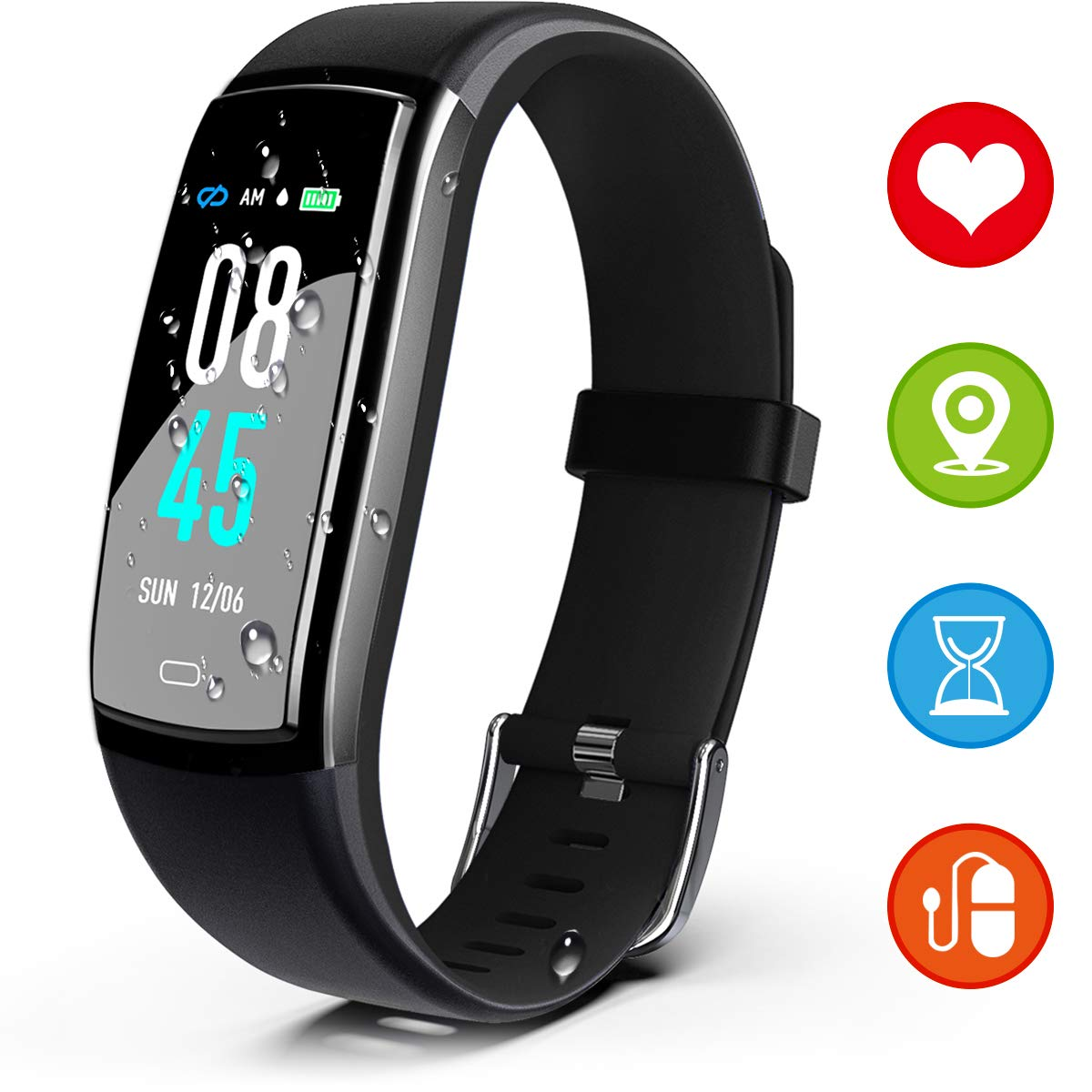 SIKADEER Fitness Tracker HR, Activity Tracker Watch with Heart Rate Monitor, IP68 Waterproof Health Tracker with Step Counter, Calorie Counter Watch for Women and Men, Kids