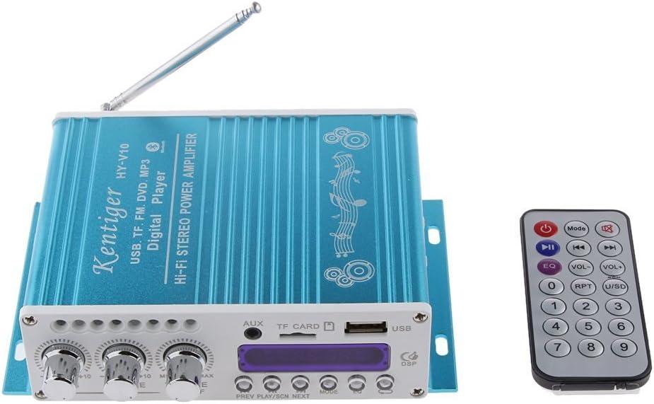 DollaTek Mini Bluetooth estéreo de Alta fidelidad de Audio Amplificador AMP Bass Booster MP4 12V de la Ayuda FM / MP3 / TF/USB/DVD para Coche de la Motocicleta del Coche automático de CD DVD