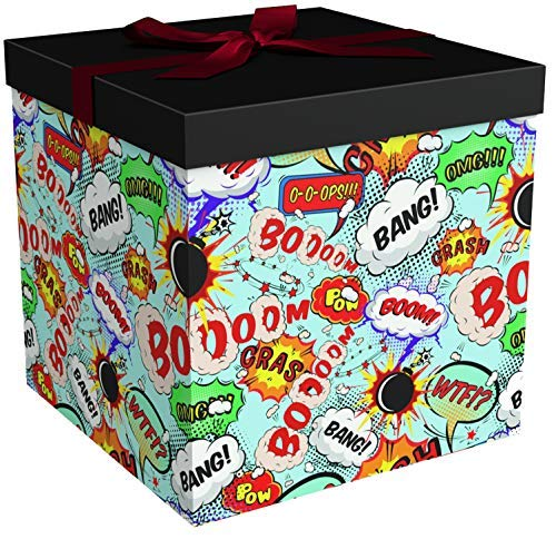 Gift Box 12x12x12 Big Bang Collection - Easy to Assemble & Reusable - No Glue Required - Ribbon, Tissue Paper, and Gift Tag Included - EZ Gift Box by Endless Art US