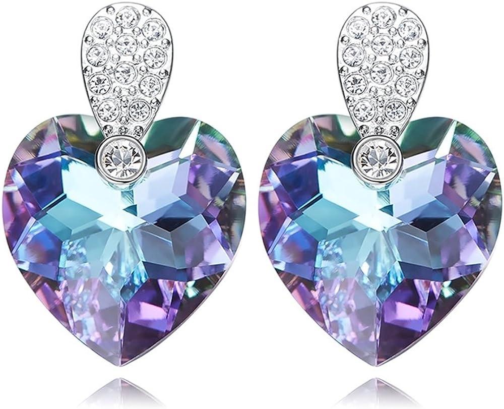 Amazon.com: Purple Big Heart Shaped Stud Earrings Swarovski ...