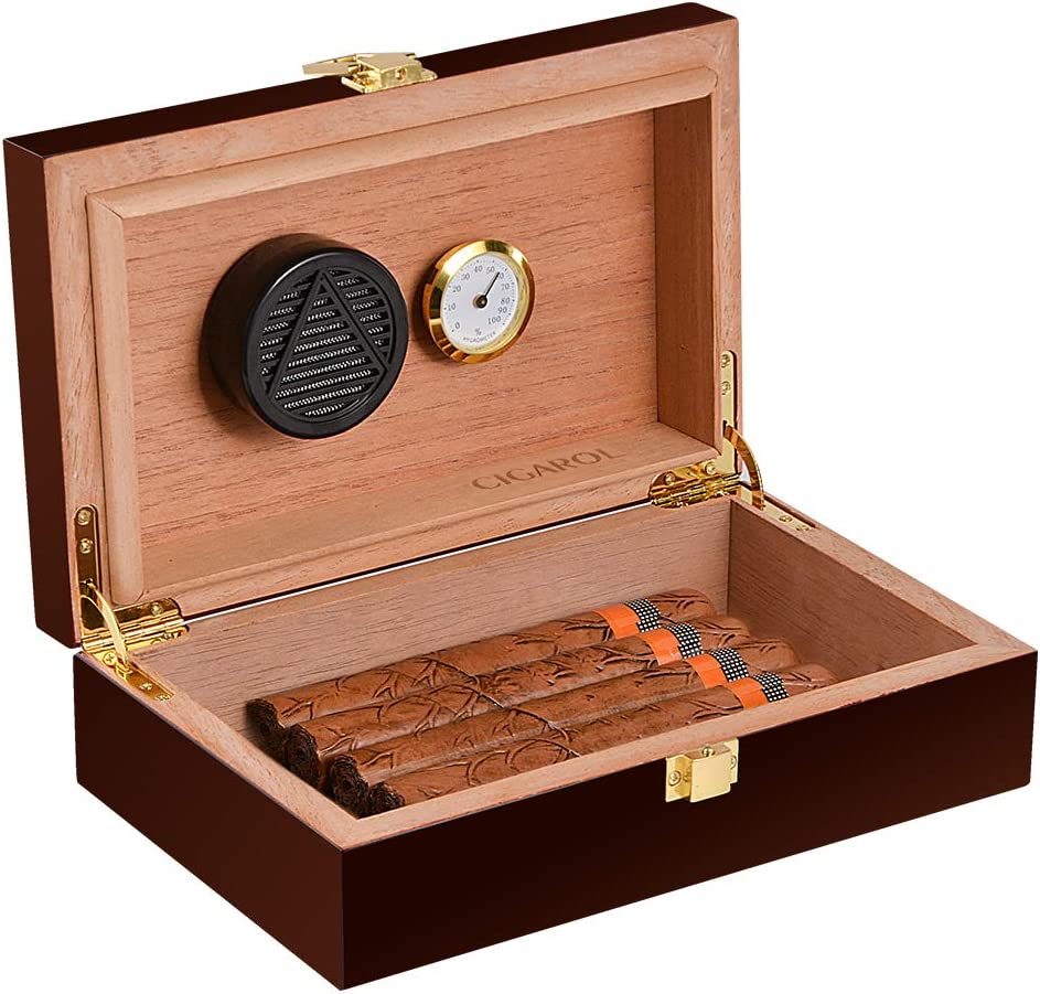Volenx Cigar Humidor with Hygrometer and Humidifier, Front-Mount Clasp Lock, Holds 5-10 Cigars