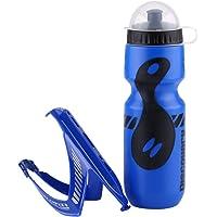 Solomi Botella de Agua, Kit de Copa Deportiva para Montar en Bicicleta de Polietileno 650ML con Soporte para Botella, 4…