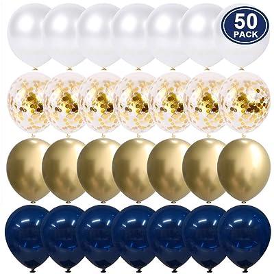YMSZ Globos de Cumpleaños, 50 Piezas de 12 Pulgadas de Confeti Azul Blanco y Globos metálicos Dorados para Decoraciones de Bodas: Juguetes y juegos