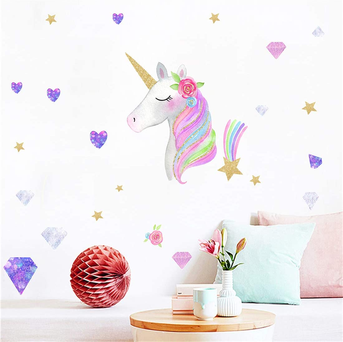 ZHS Unicorn Height measurement sticker Wall Stickers for Girls room Kids room Removable Vinyl Wall Decals Wall Murals