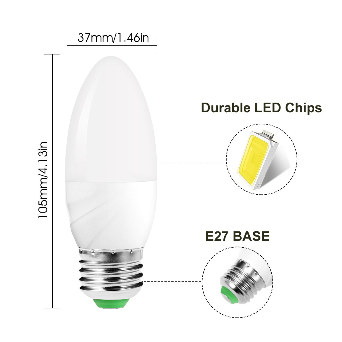 Jandcase 6w60w Light Sensor Candle Bulb Day White 6000k Dusk Till Build A Circuit Science The Lab Dawn E27 Led 550lm Auto On Off Night Smart Indoor Outdoor Lamp